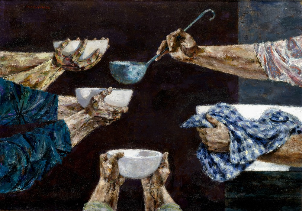 This work by Joseph Hirsch shows outstretched arms holding bowls waiting to receive some soup