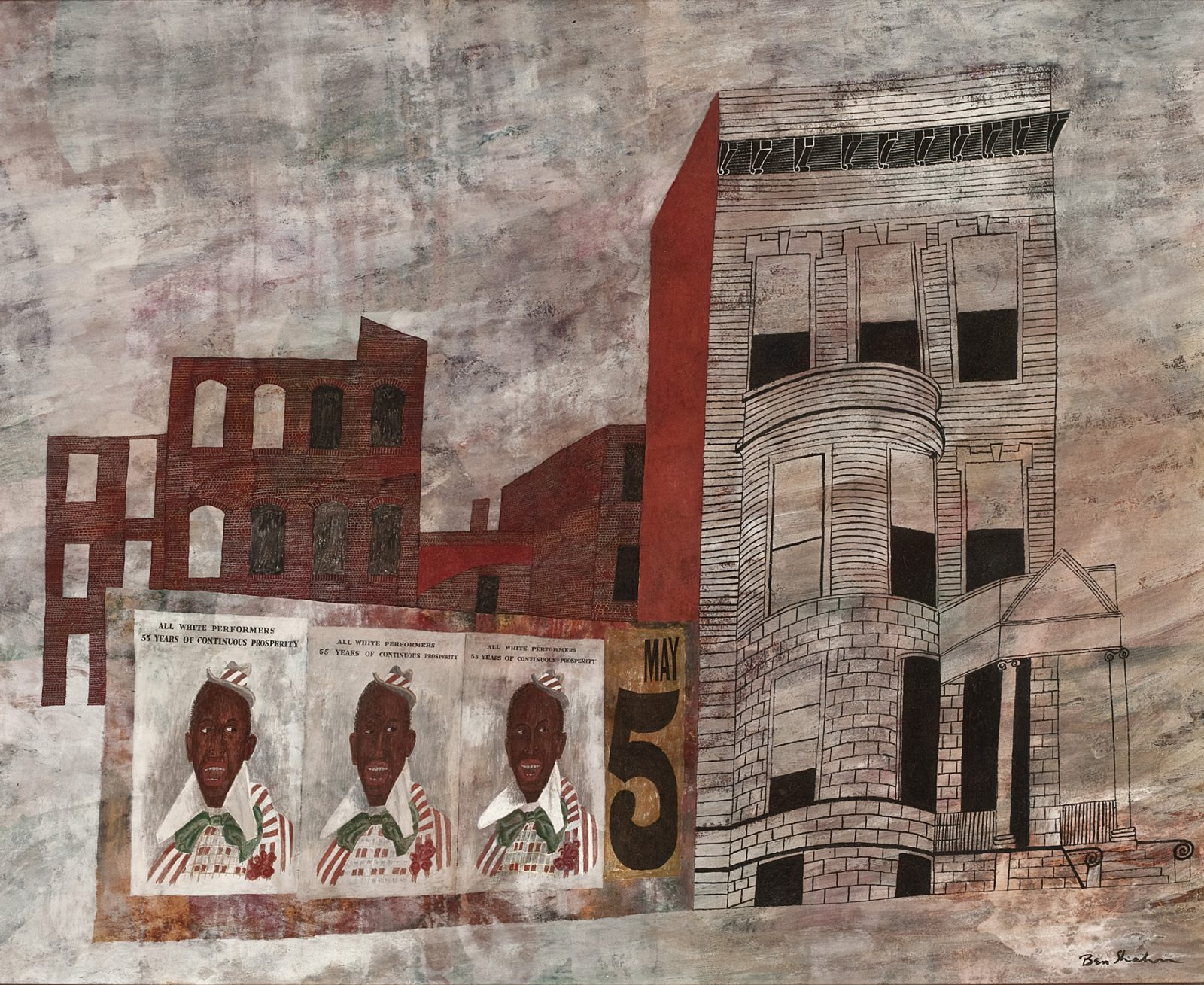 This work by Ben Shahn depicts 3 identical posters in front of an abstract cityscape