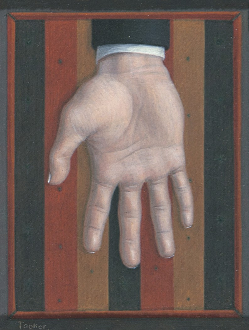 This work by George Tooker depicts a hand over black, red and yellow stripes