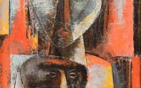 This work by Charles Alston depicts three figures reminiscent of African masks