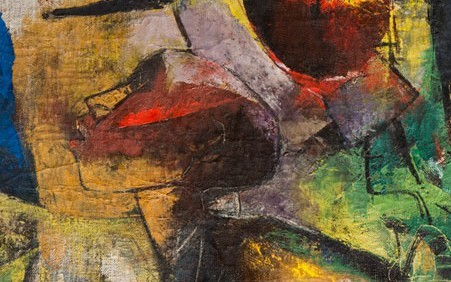 Charles Alston combines primitive and African influences with bright colors and a fascinating surface to convey the loose movements of a jazz dance