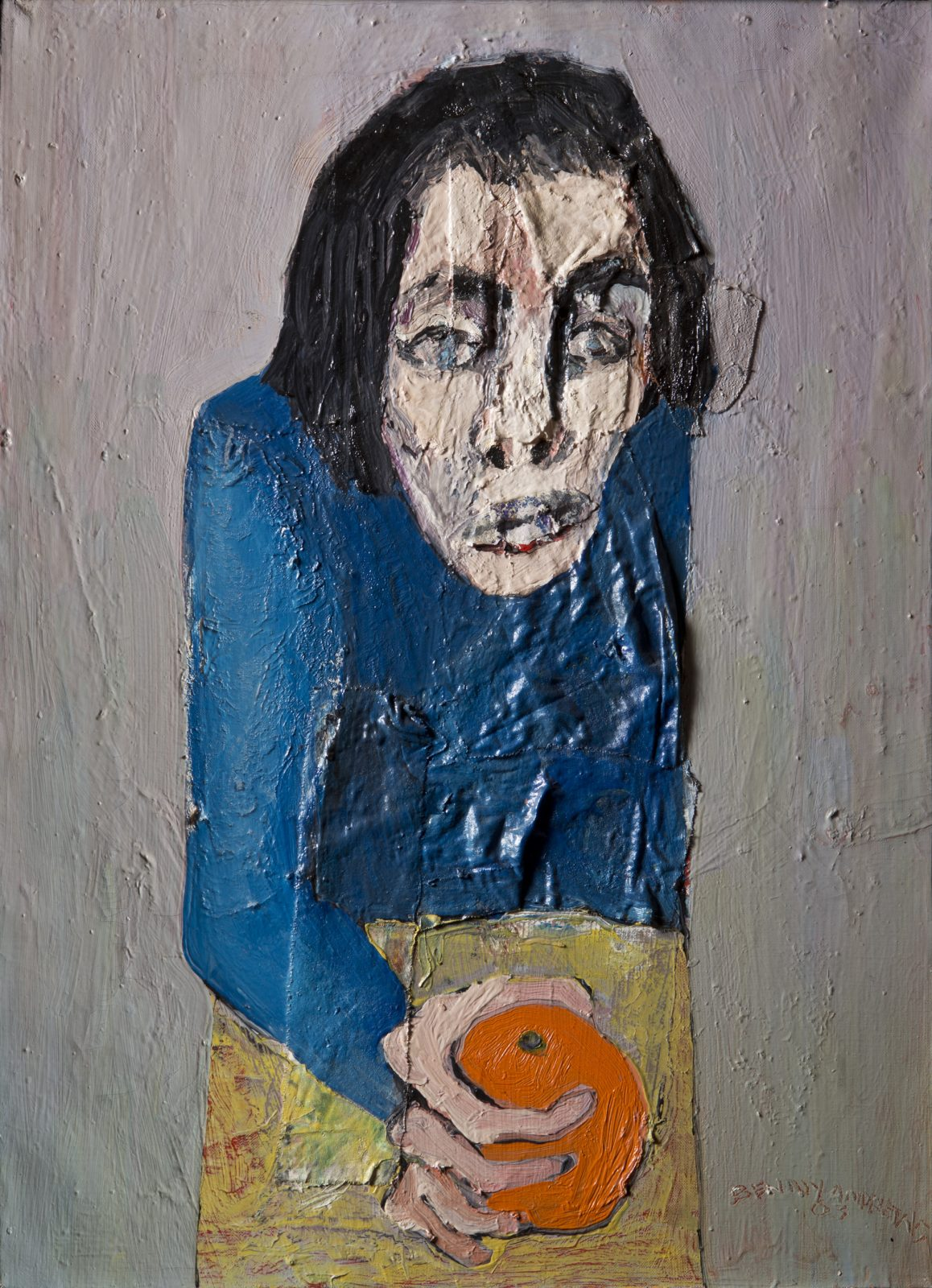This painting by Benny Andrews shows a character in blue holding a fruit