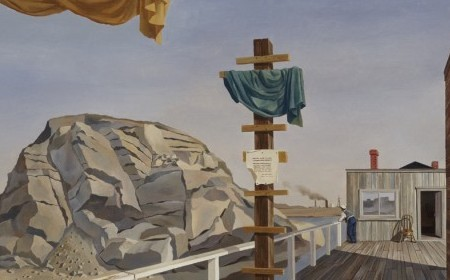 On a wharf, the lines of the planks draw the viewer's attention to a lone figure who, in turn, gazes at a smokestack in the distance.