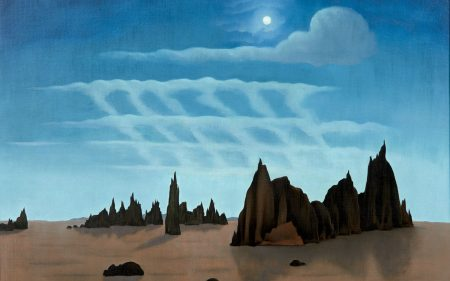 This work by George Ault shows a desert landscape under a bright blue sky