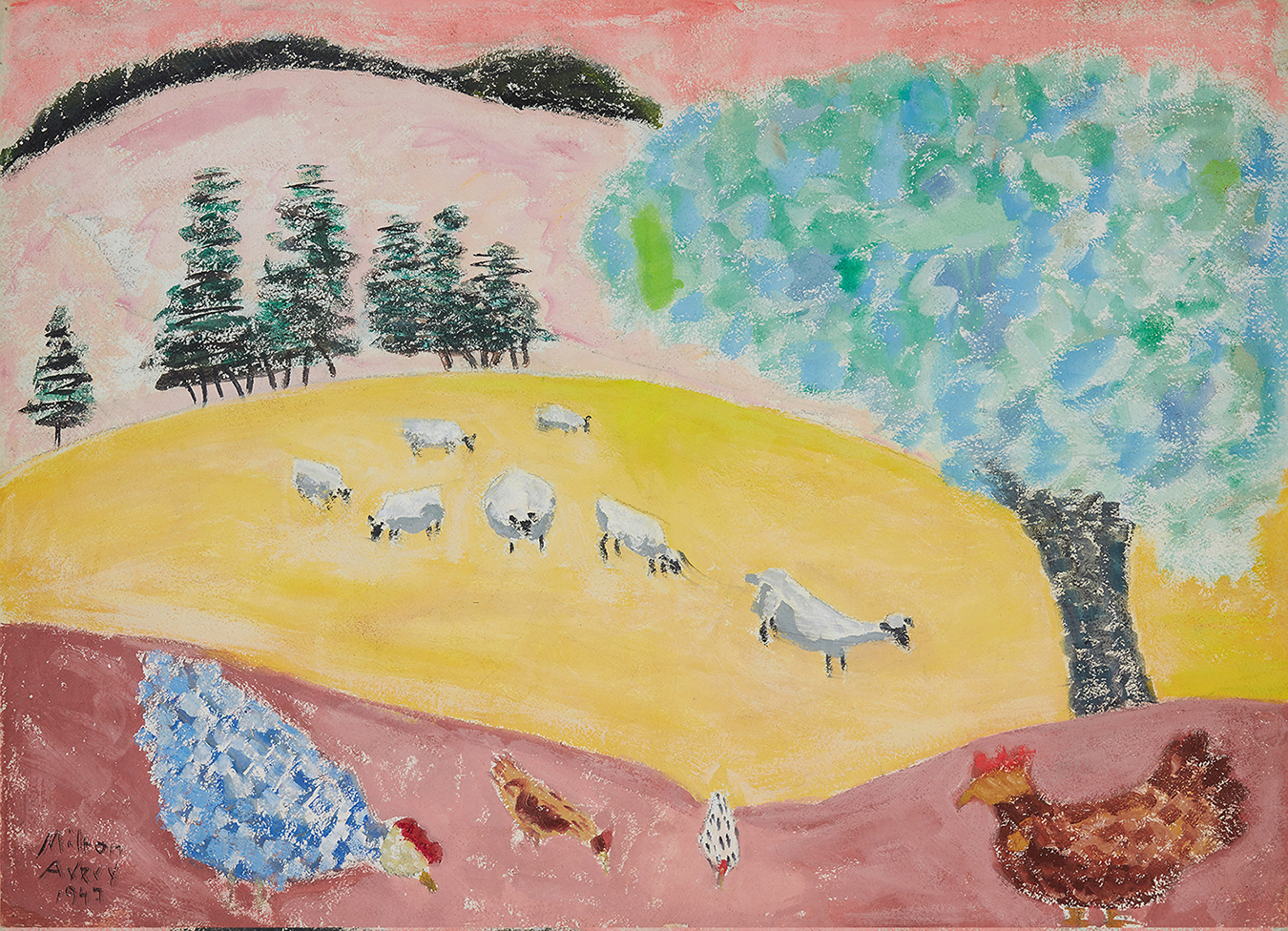 Milton Avery's colorful landscape of pinks, yellows, blues, and greens with sheep and chickens grazing.