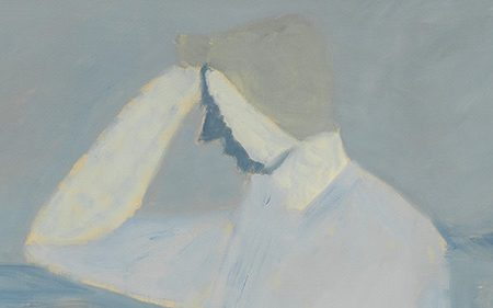 Close up of seated woman in Milton Avery's Study in Blues