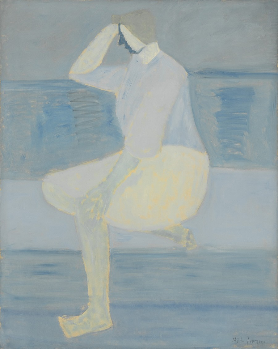 Milton Avery's painting Study in Blues features a young woman sitting on a couch.