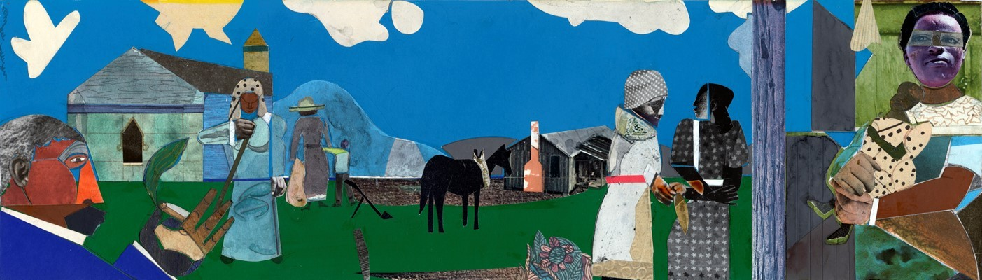 Rural colorful scene by Romare Bearden