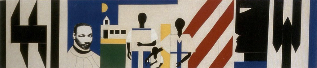 Romare Bearden's collage featuring an image of Martin Luther King, Jr. and African American protesters in front of geometric patterns.