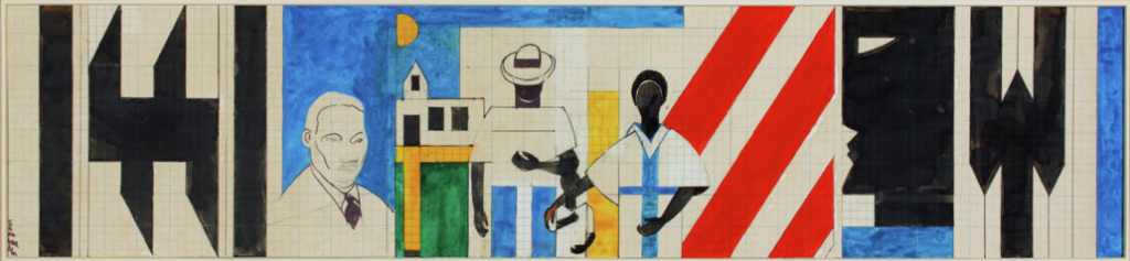 Romare Bearden's watercolor, ink and graphite sketch of Martin Luther King, Jr. and African American protesters in front of geometric patterns.