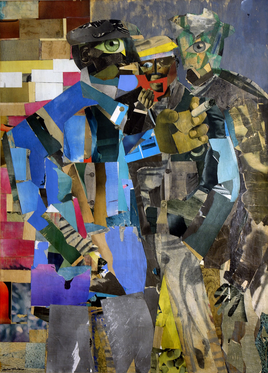 Romare Bearden depicts three men in fractured colorful shapes