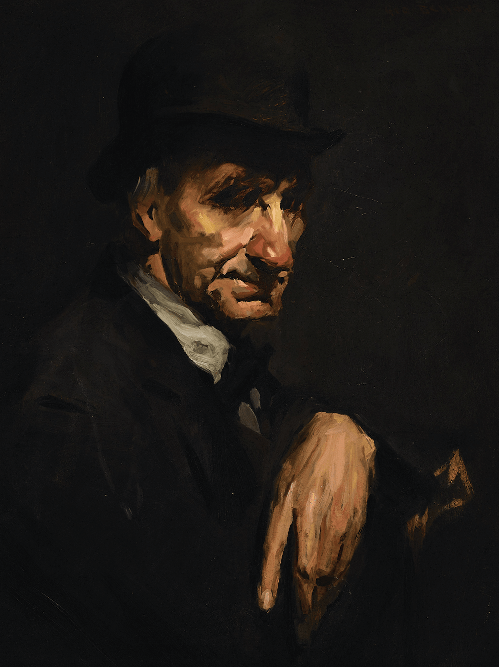 George Wesley Bellows' portrait of a man featuring a dark palette and highlighting the man's red nose.