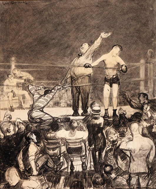 The presentation of the winner of a boxing match.