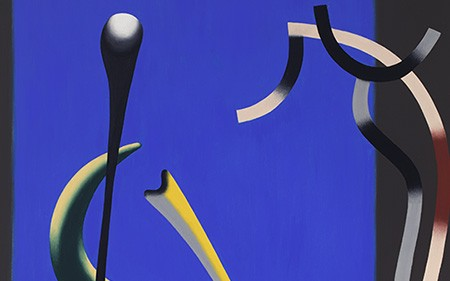 The large composition lacks narrative or recognizable imagery, and instead explores abstract form, color, and space in blue, and dark green and black shapes