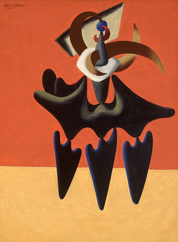 Set against a background of flat, saturated color, organic and biomorphic forms balance atop each other.