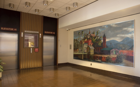 Installation image of Peter Blume's Two Rivers mural.