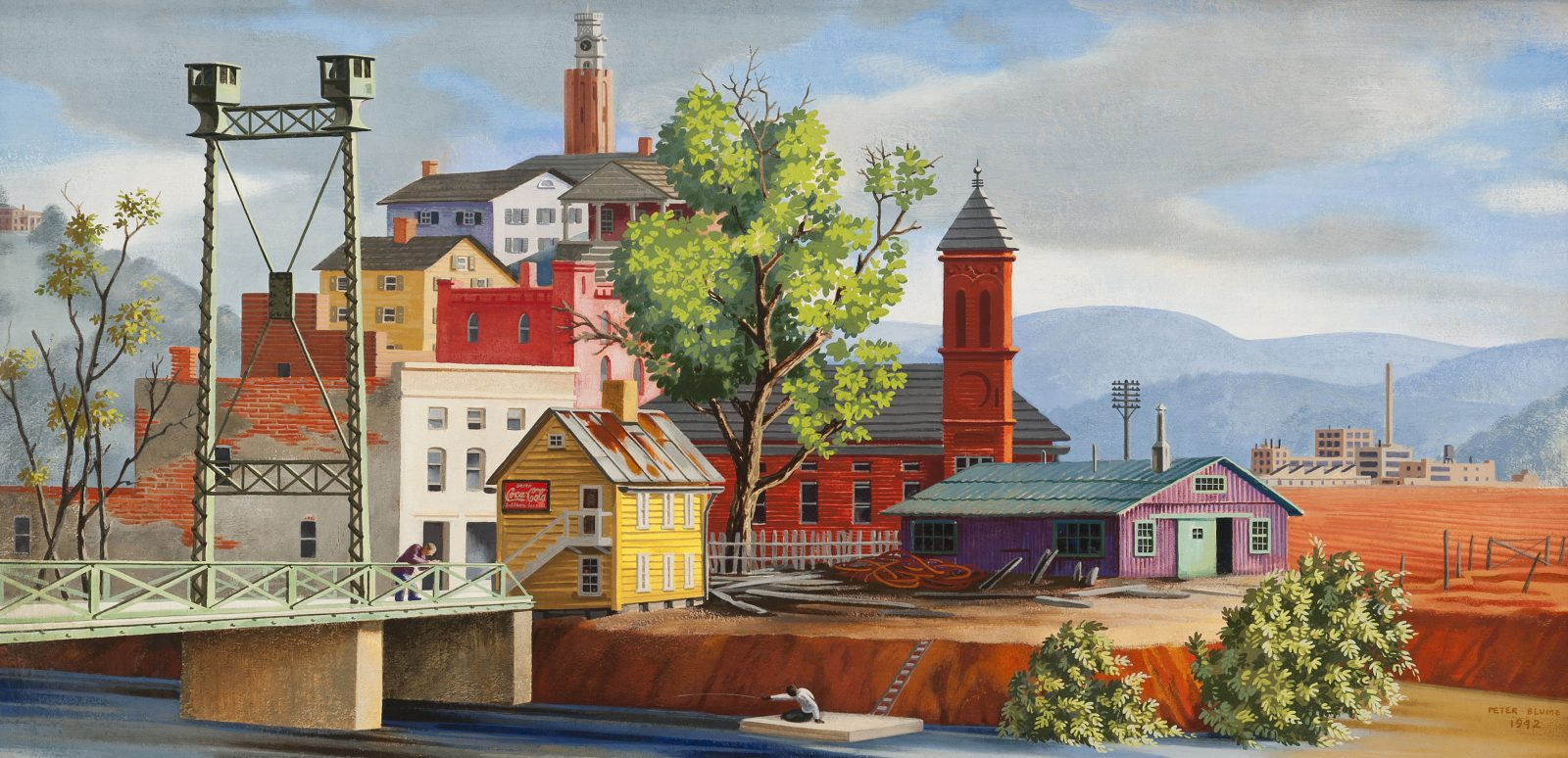 In Peter Blume's work, local landmarks and a towering iron drawbridge are shown in the mountains