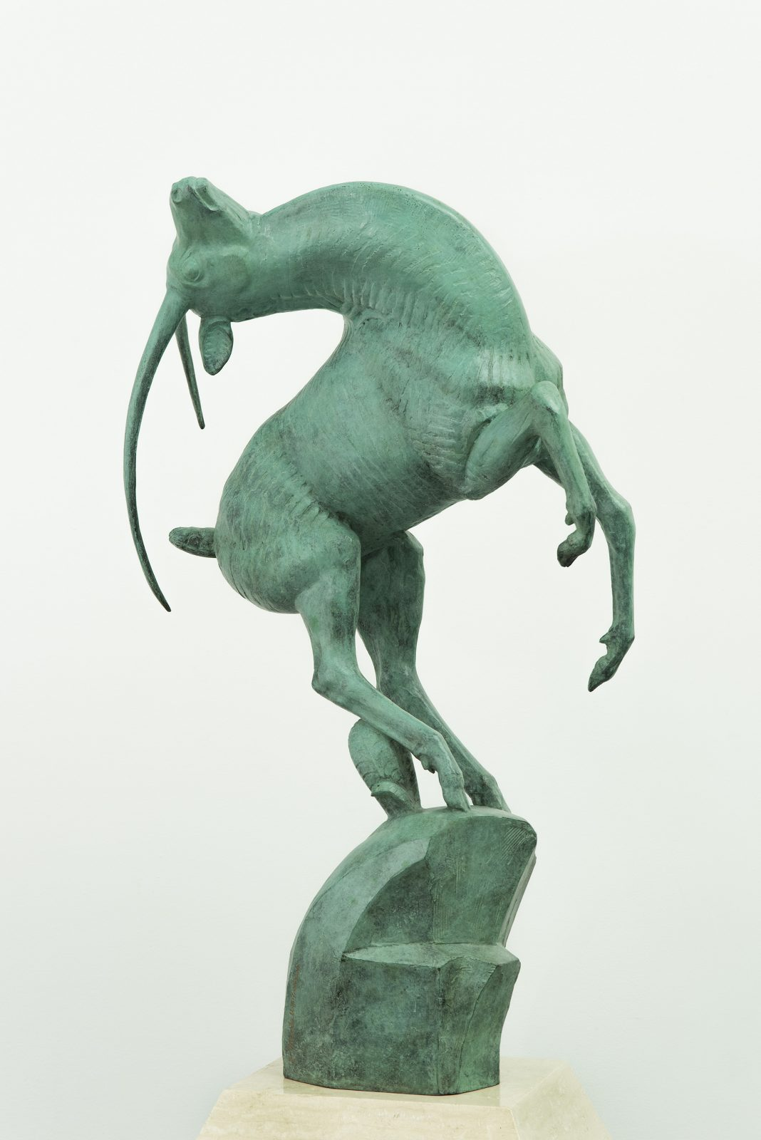 Bronze sculpture showing a leaping gazelle