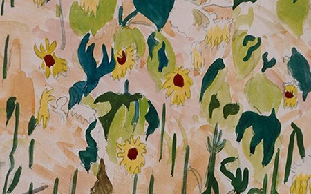 This painting shows a field of sunflowers set against a backdrop of trees and buildings, transformed into a study of color and pattern.