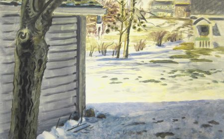 This painting shows the back of a few houses, in front of a garden covered in snow with a tree in the foreground