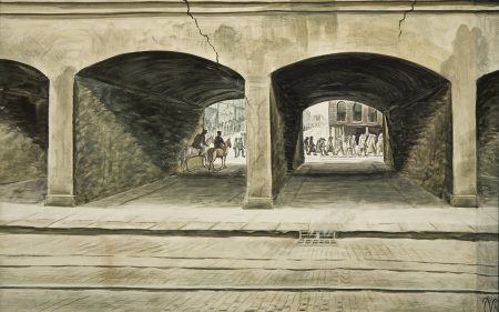 In this work in grey tones, a parade can be seen through two tunnels, as if under a bridge or a train tracks