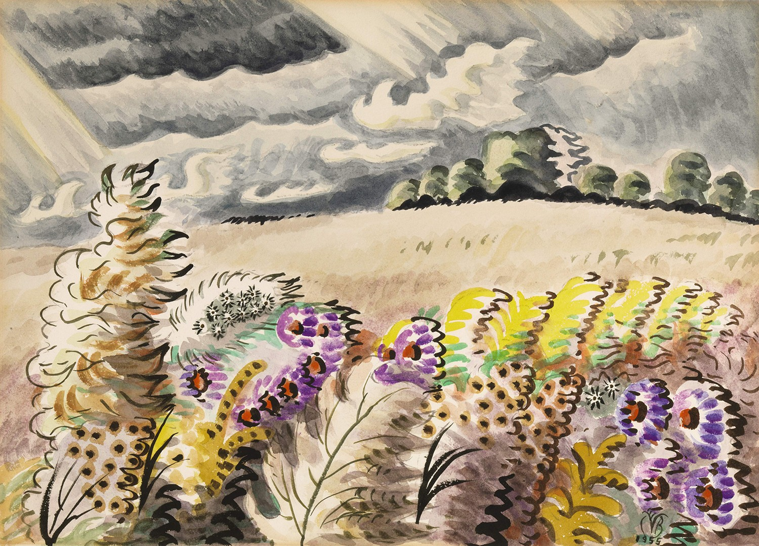 In this colorful, work, flowers and bushes can be seen at the bottom of a hill, under a sky of grey clouds