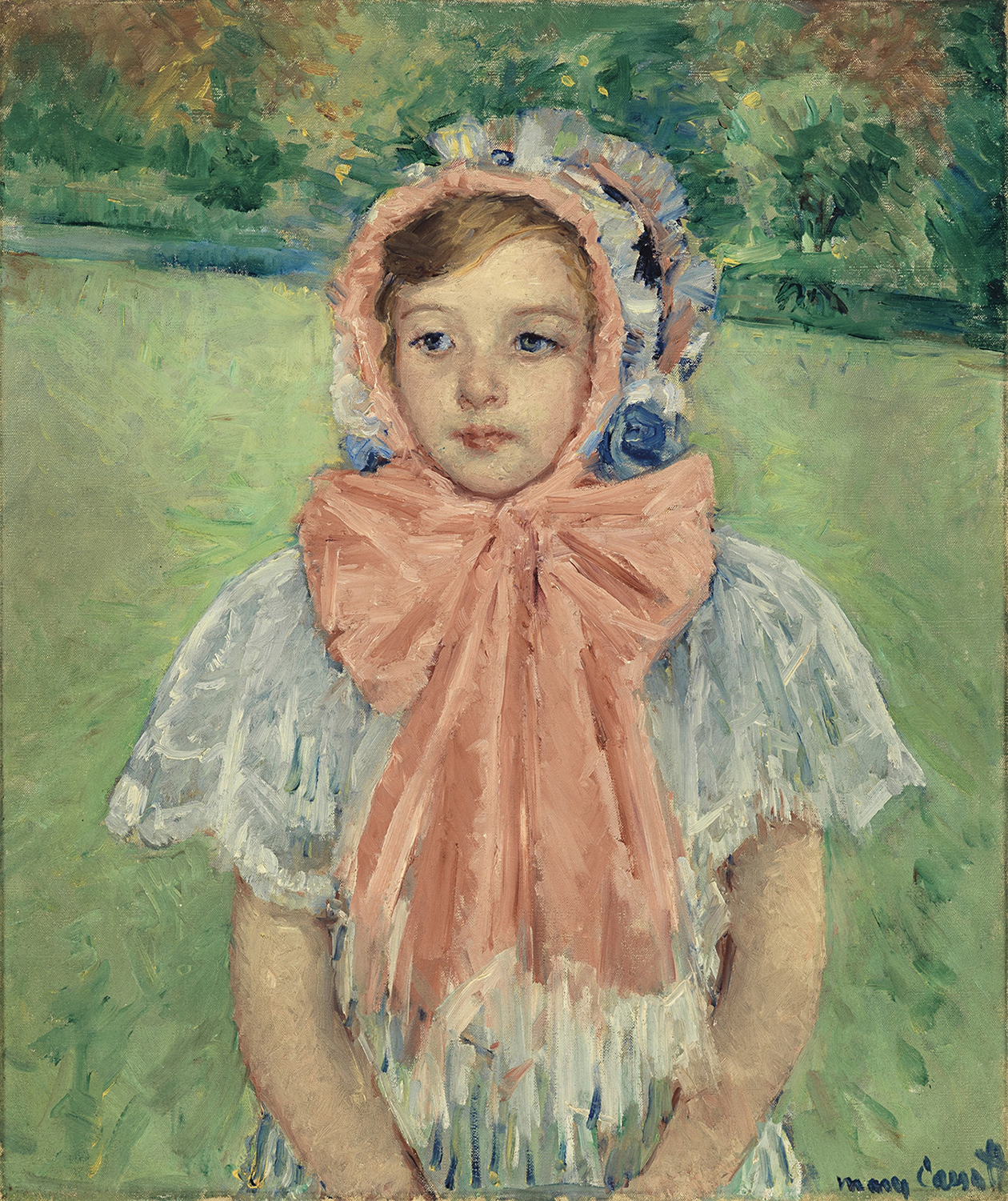 Image of young girl wearing white bonnet and large pink bow by Mary Cassatt