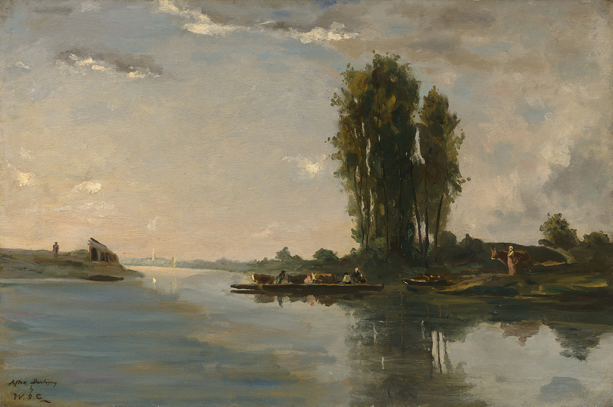 Sir Winston Churchill's landscape scene featuring a river and its surrounding landscape.
