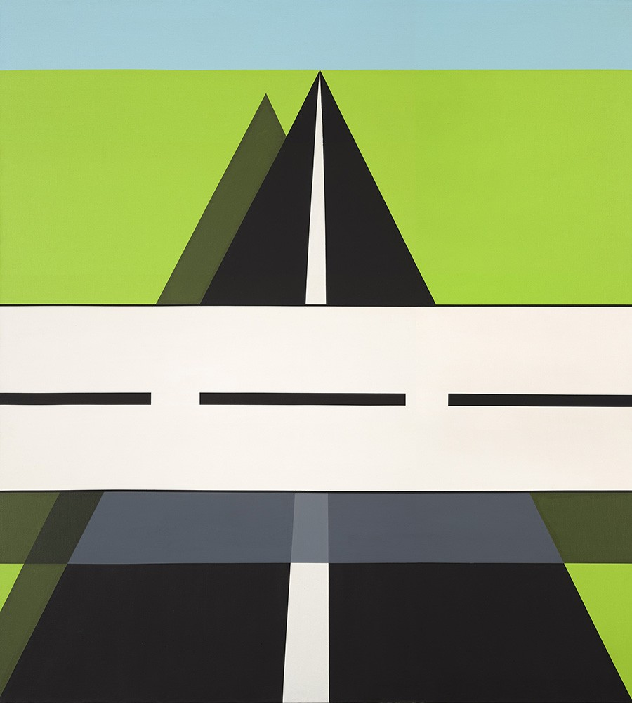 In this painting, a long stretch of black asphalt is overlapped by a black-and-white striped horizontal barrier board, or overpass road. Space is both flat and volumetric as transparent shadows are cast behind the forms.