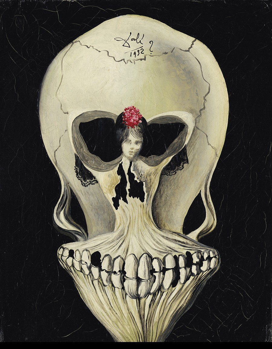 Example of Dali's use of double or simultaneous images. Figure of a ballerina and a skull morphed into one.