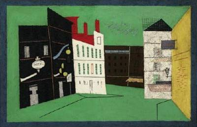 This work by Stuart Davis shows colorful buildings in front of a bright green background