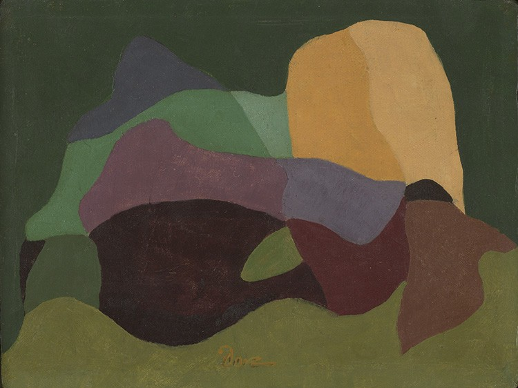 This work by Arthur Dove shows abstract shapes in red, orange and green