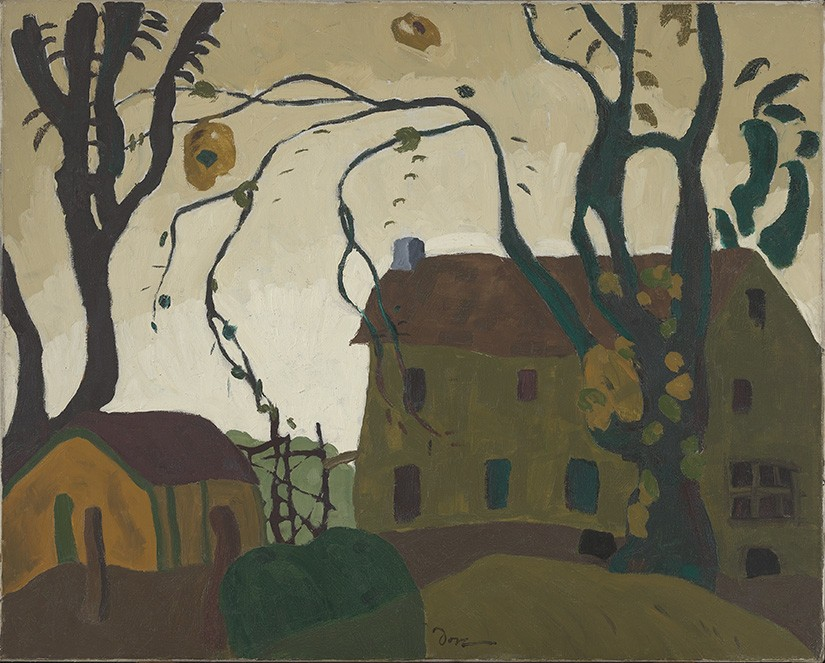 The scene by Arthur Dove depicts a small green house, with a nearby yellow cottage and two unusual trees stripped of their foliage.