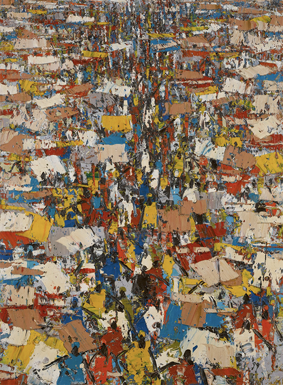 Ablade Glover's abstract painting features a thickly-painted surface with colorful representations of crowds of people in a marketplace