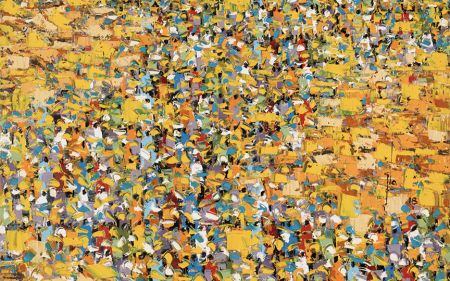 Ablade Glover's abstract painting features a thickly-painted surface with colorful representations of crowds of people in a marketplace set against a bright yellow background