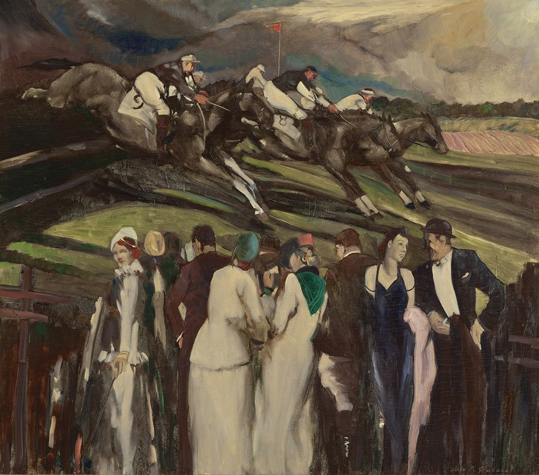 Detail of a work by John Grabach showing characters in dresses and suites watching horses racing