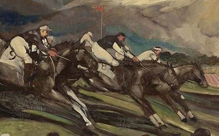 Detail of a work by John Grabach showing horses racing