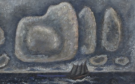 Blue and grey painting by Marsden Hartley showing a sailboat between waves, in front of a background of clouds