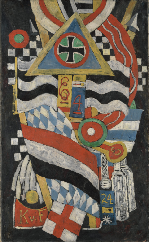 Marsden Hartley's painting features symbols of the Prussian military arranged in a collage-like manner.