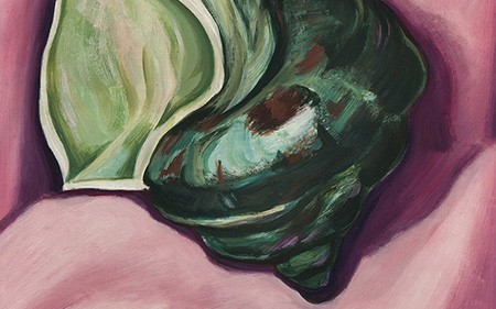 This work by Marsden Hartley shows a green seashell on a bright pink background