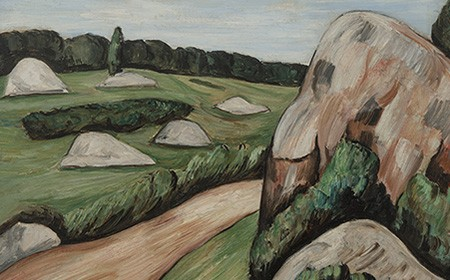 This work depicts a winding dirt path that intersects the wild landscape of Dogtown, set beneath a crystal blue summer sky.