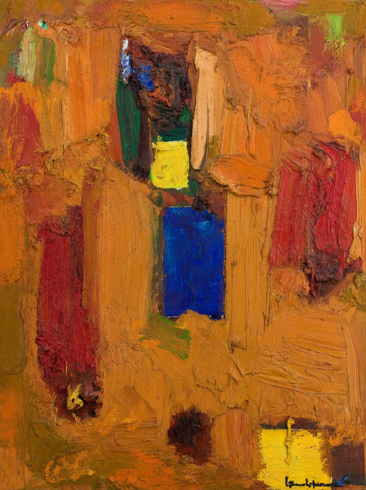 In this work by Hans Hofmann, thick, richly painted orange brushstrokes overlap on the canvas and act as a background to the bursts of red, blue, green, and yellow forms