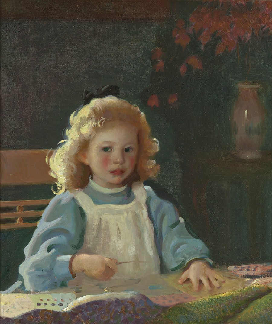This work shows the face of young girl with blond hair