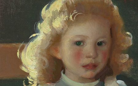 This detail shows the face of young girl with blond hair