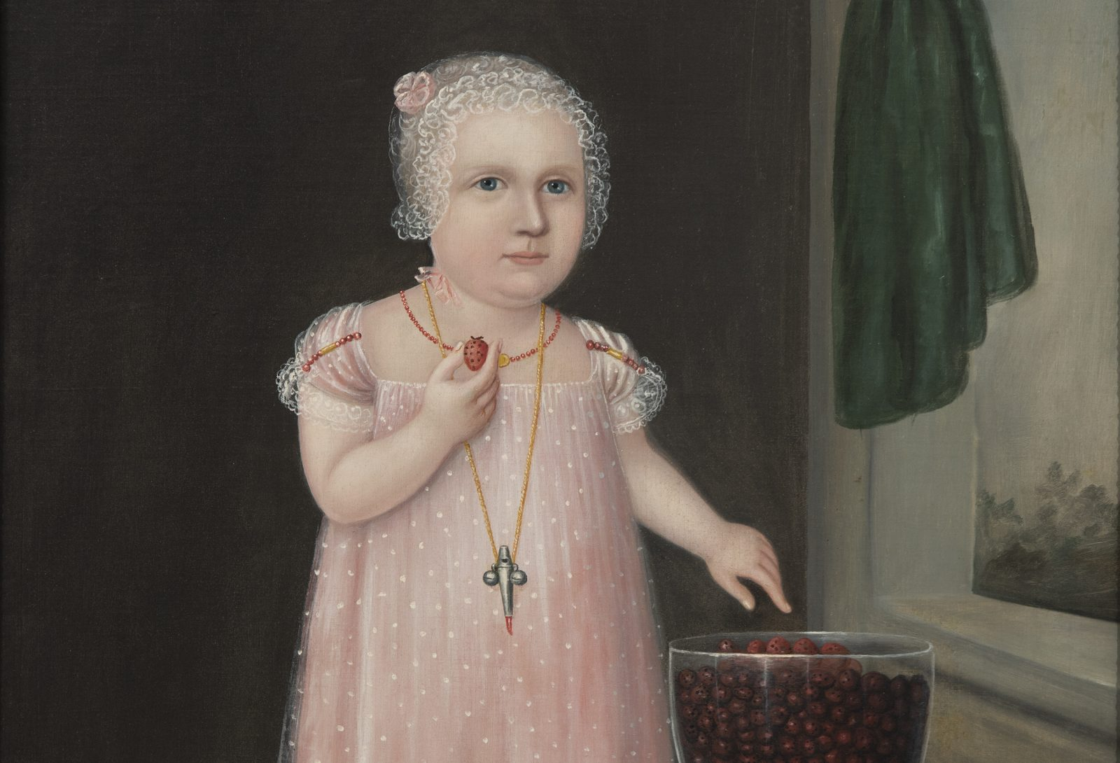 Portrait by Joshua Johnson of a little girl in pink eating strawberries