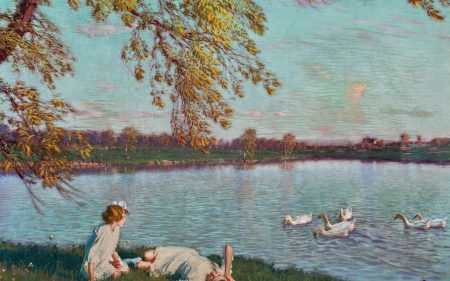 Edward Dufner's work depicting two young girls lounging on the shore of a pond enjoying the view