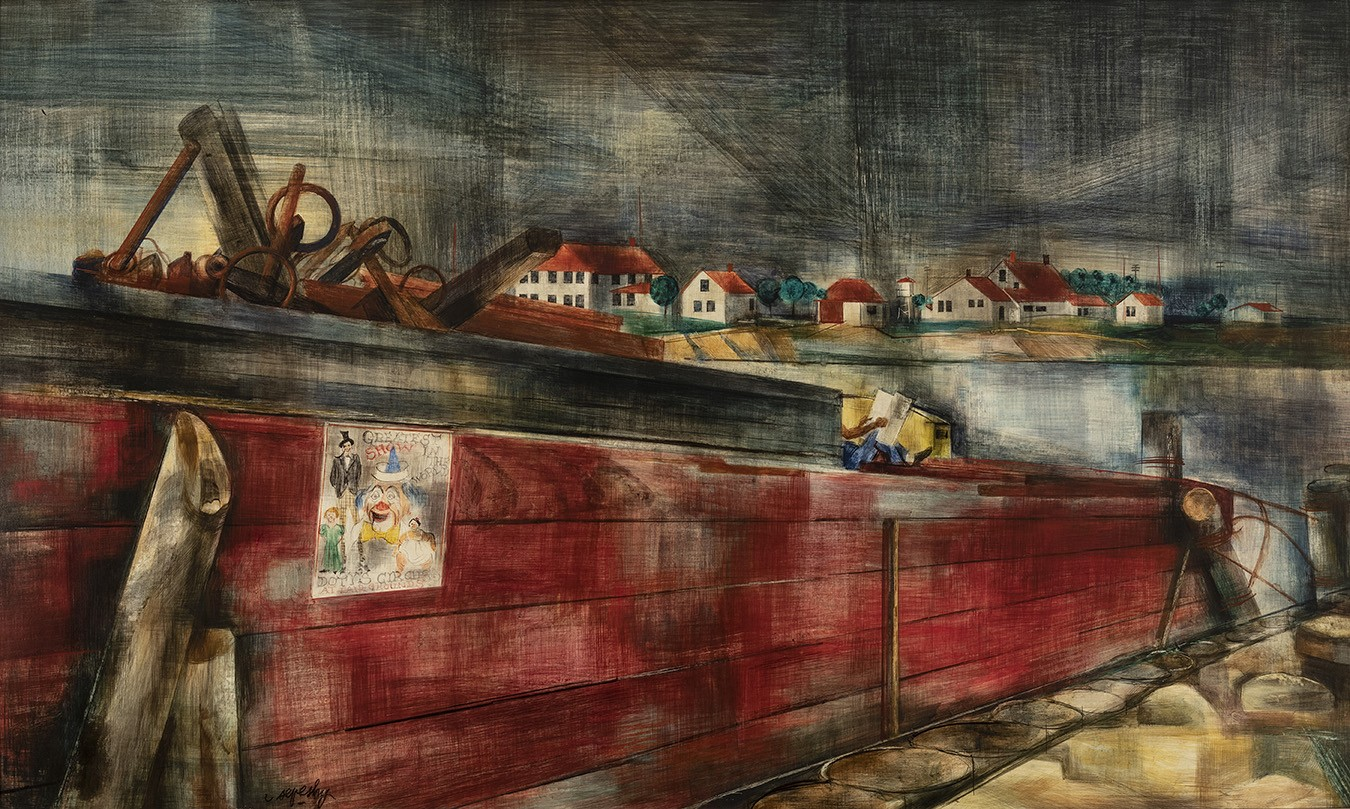 Sepeshy's scene of a dock with a red scow tied up with a crew member relaxing upon it.