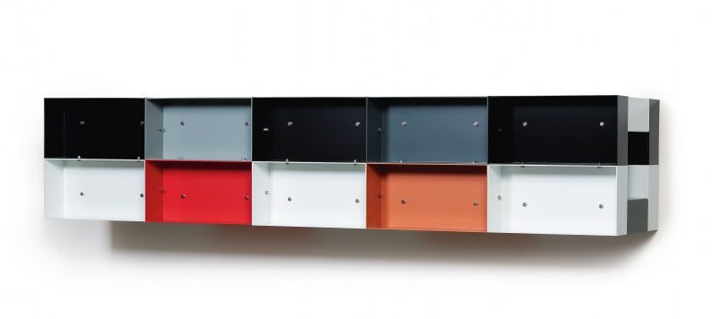 Donal Judd's minimalist geometric sculpture with rectangles of various colors.