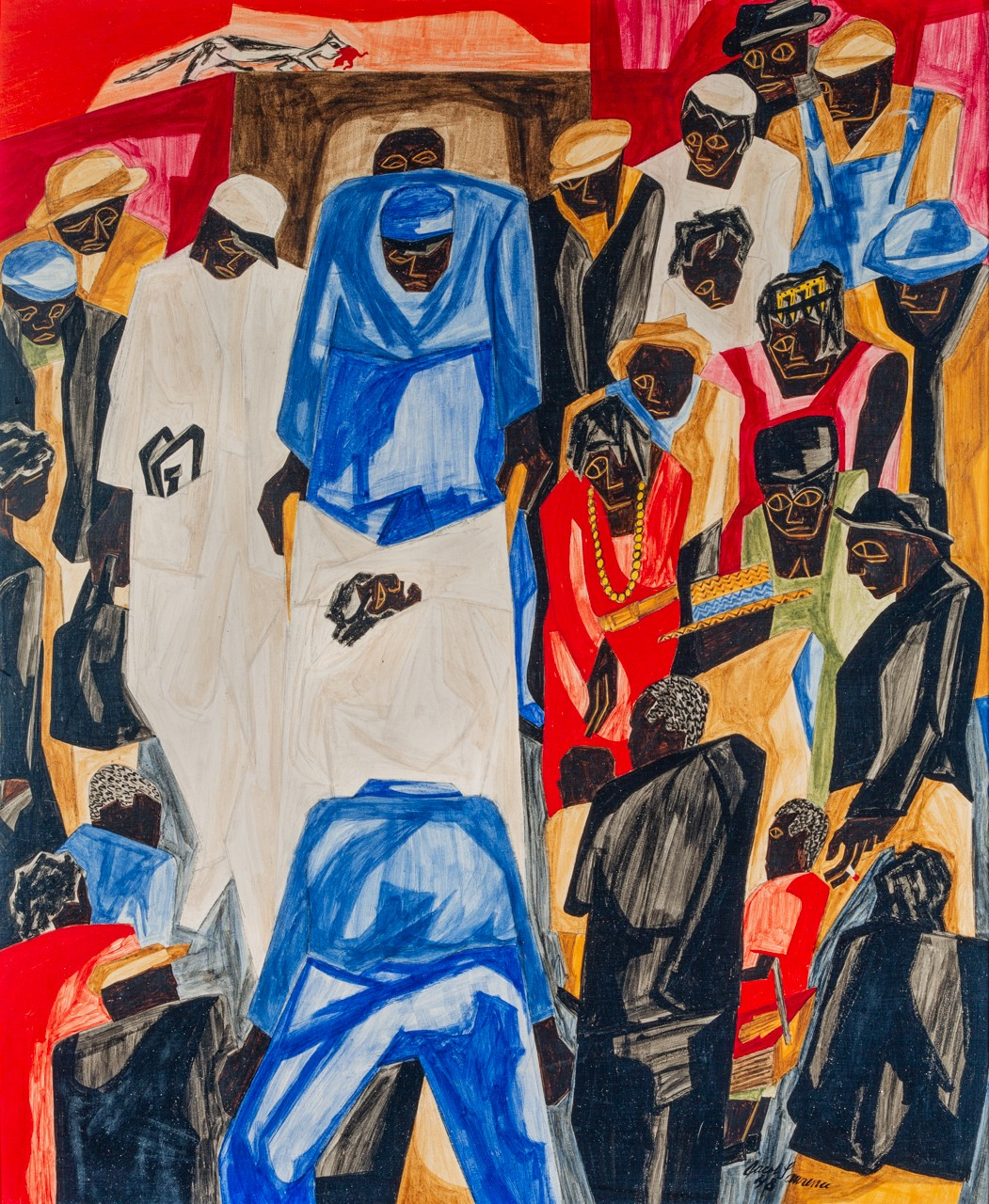 In this colorful scene by Jacob Lawrence, mbulance attendants lift a stretcher carrying an ailing figure covered in white sheets