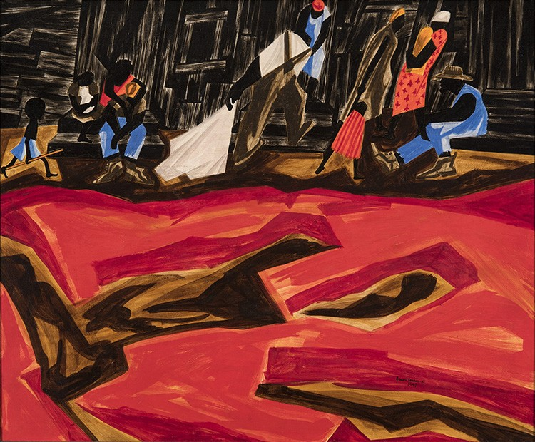 This work by Jacob Lawrence shows characters in the upper third, with bright red earth in front